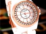 正品欧格雅新款手表仿陶瓷表非防水女表白色女士腕表带钻