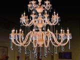 批发三层琥珀色K9欧式蜡烛水晶吊灯酒店大堂别墅会所工程灯饰灯具
