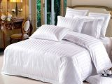 特价宾馆酒店客房床上用品布草三四件套全棉加厚白色缎条批发定做