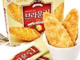 1409韩国进口食品批发 韩国饼干乐天蜂蜜树叶饼干90g*16盒