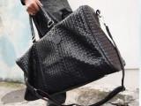 韩版新款男包包潮包复古大包包手提斜挎包旅行包黑色编织包单肩包