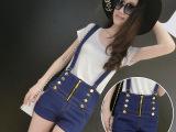2015夏季新款棉弹牛仔短裤韩版大码高腰双排扣牛仔短裤背带裤女