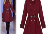 红色双排扣风衣修身中长款英伦风羊绒大衣毛呢大衣女毛呢外套