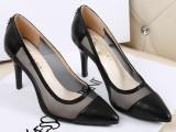2014新款欧美大牌尖头网纱真皮女凉鞋高跟高跟优雅女鞋子一件代发