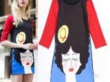 2014春夏新款欧美风走秀卡通人物头像印花圆领中袖撞色修身连衣裙