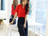 2015夏季新款韩版时尚两件套女 宽松短袖V领雪纺衫阔腿七分裤套