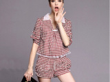 2014春夏新款女装棋盘格子拼接欧根纱上衣短裤套装两件套潮900