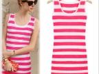 厂家直销夏季新款 欧美风圆领粉白条纹无袖背心连衣裙 弹力大码