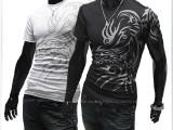外贸EBAY热卖  新款时尚欧美风格 男秋装新款 纹身圆领短袖T