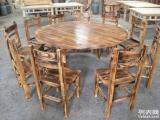 碳烧碳化桌椅农庄山庄田园台凳火烧木餐椅八仙台火锅桌