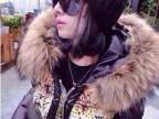 欧洲站2014新款女装棉衣欧美大牌时尚真毛豹纹百搭上衣棉衣女