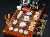 茶具套装特价冰裂定窑玲珑紫砂功夫茶具整套四合一电磁炉实木茶盘