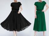 2014年夏季新款日韩版女装 波西米亚连衣裙长裙雪纺短袖连衣裙