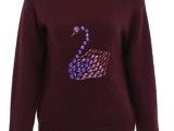 天鹅图案 镶钻钉珠款 圆领秋季针织毛衣女装 2014秋装新款 2