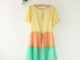 y0原单外贸2014夏季新款女式中长款修身连衣裙女生民族风有里裙