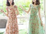 2014新款夏装波西米亚碎花雪纺中长裙 收腰连衣裙女装圆领短袖