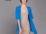 2015年春款新品女装欧美潮流短袖中长款真丝开衫不规则防晒衣外套