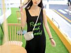2014夏季女装新款裙子 圆领绿字母吊带 莫代尔连衣裙