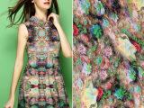 厂销现货供应人棉数码印花布 批发供应时装服装用布数码印花布