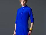 代理加盟一件代发春装新品女装正品立领纯色真丝七分袖连衣裙招商