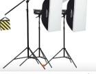 低价转让神牛DP400W摄影灯影室闪光三件套灯套装