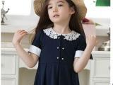 女童装 2014夏款新品女童韩版短袖连衣裙 女童娃娃领童裙可鹿思