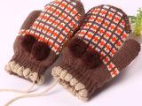 秋冬季保暖用品批发幼儿园儿童可爱粘花时尚毛线双层加厚魔术手套