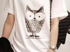 2013年新款夏纯色猫头鹰单色印花 加烫