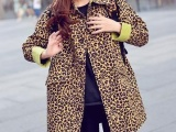 迷彩外套 宽松大码复古 中长款豹纹风衣