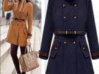 SHIYUDIE秋冬女装新款肩章立领双排扣羊毛呢大衣外套厂家直销批发