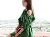 韩国pts同款棉麻露肩抽绳大口袋灯笼袖连衣裙 厂家直销 一件代发