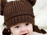 韩国儿童双球造型帽子 男女童宝宝秋冬毛线帽