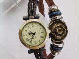 韩版时尚百搭手工编织按扣腕带牛皮皮带复古手链式手表学生表批发