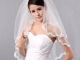 婚纱新款头纱/新娘头纱米白双层小蕾丝加梳1.5米长/婚纱礼服配件