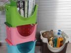 日式 塑料叠加收纳筐 厨房果蔬收纳筐浴室收纳置物架 书架
