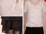 特种绣花雪纺大方甜美可爱娃娃领透气蛋糕裙摆雪纺气质连衣裙