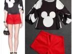 2014欧洲站打大牌 夏季新款米奇印花上衣+红色短裤休闲套装