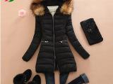 2015年冬装新款中长款羽绒棉服 韩版气质显瘦大毛领女式棉衣批发