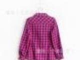 cy1652 欧美 纯棉格子玫红可收腰款女童长款衬衫可挽袖