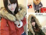 冬装新款系带厚实连帽仿毛领羊羔毛大衣外套棉衣