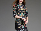 欧洲站2015秋装高端女装定位印花宫延修身七分袖显瘦连衣裙60156