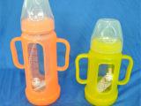 批发防胀气防摔宽口玻璃有柄自动吸管奶瓶  硅胶奶嘴 OEM定制奶瓶