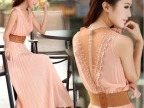 2014夏季女装 气质V领波西米亚连衣裙 中长款雪纺连衣裙 送腰带