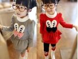 童装女童韩版秋冬装可爱兔子休闲加厚两件套套装