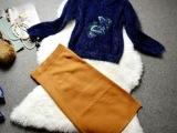 欧洲站女装 原版品质 马海毛套头毛衣+针织包臀半身裙套装1122
