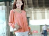 2014春装新品韩版修身大码品质清凉雪纺衫长袖上衣衬衫女长袖衬衣