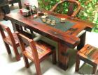 长沙市老船木茶桌椅子仿古茶台实木沙发茶几餐桌办公桌家具博古架
