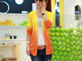 2014春装新款渐变色针织衫 女装韩版中长款外套防晒披肩开衫