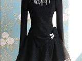 黑色银丝宝石蝴蝶结气质蓬蓬大裙摆连衣裙