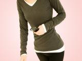 春季新款时尚百搭韩版纯棉v领打底衫长袖T恤女装批发厂家直销